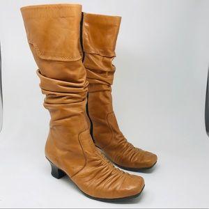 Rieker Tan Calf Heel Zipper Euro Comfort Boots 40